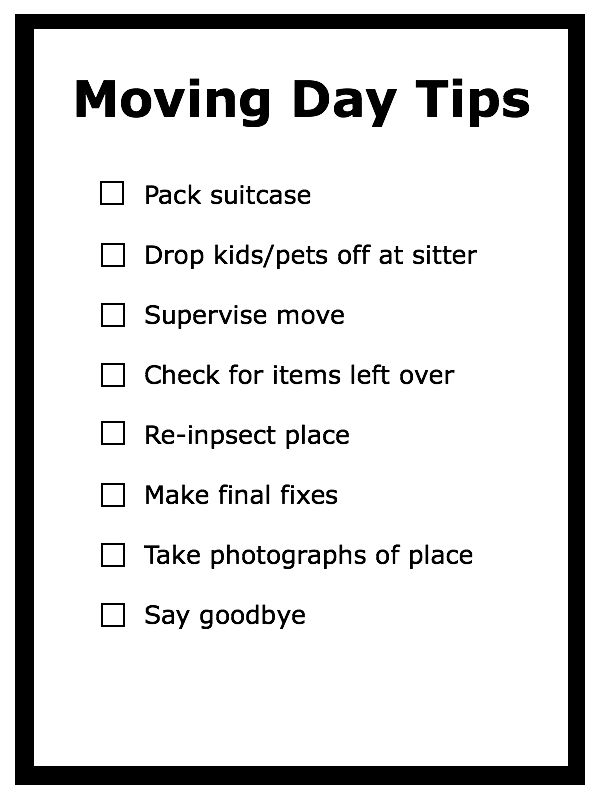 Moving Day Checklist – Leaving the Old Place