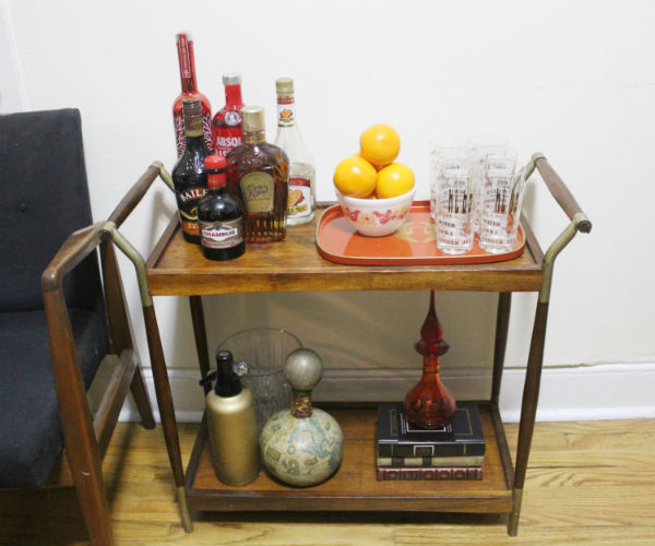 Mid Century Bar Cart Setup