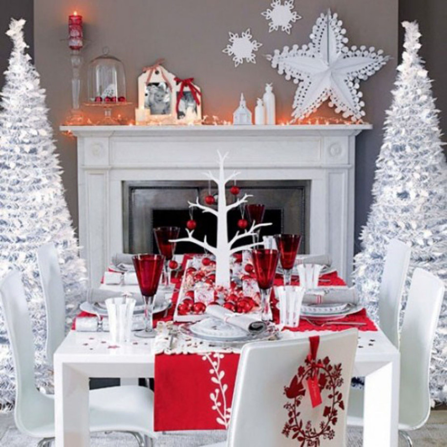 White christmas table decor - Dining Table Holidays Christmas Tree Red White Decor Aptdeco