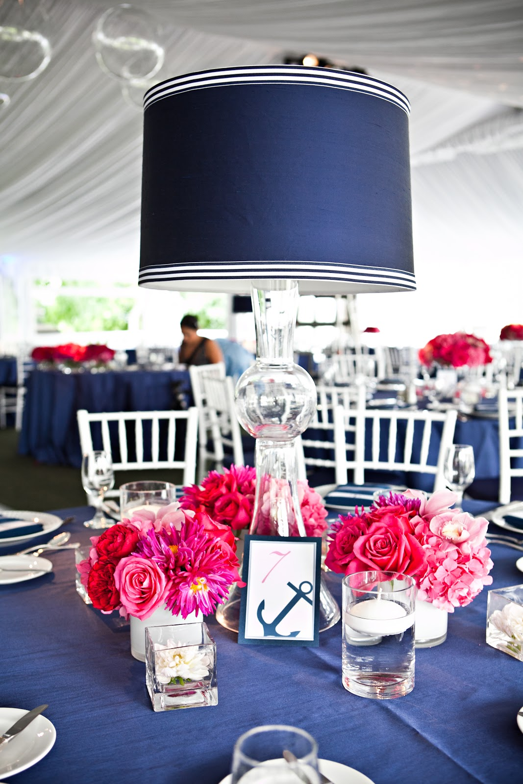 Lamp Centerpieces at Wedding