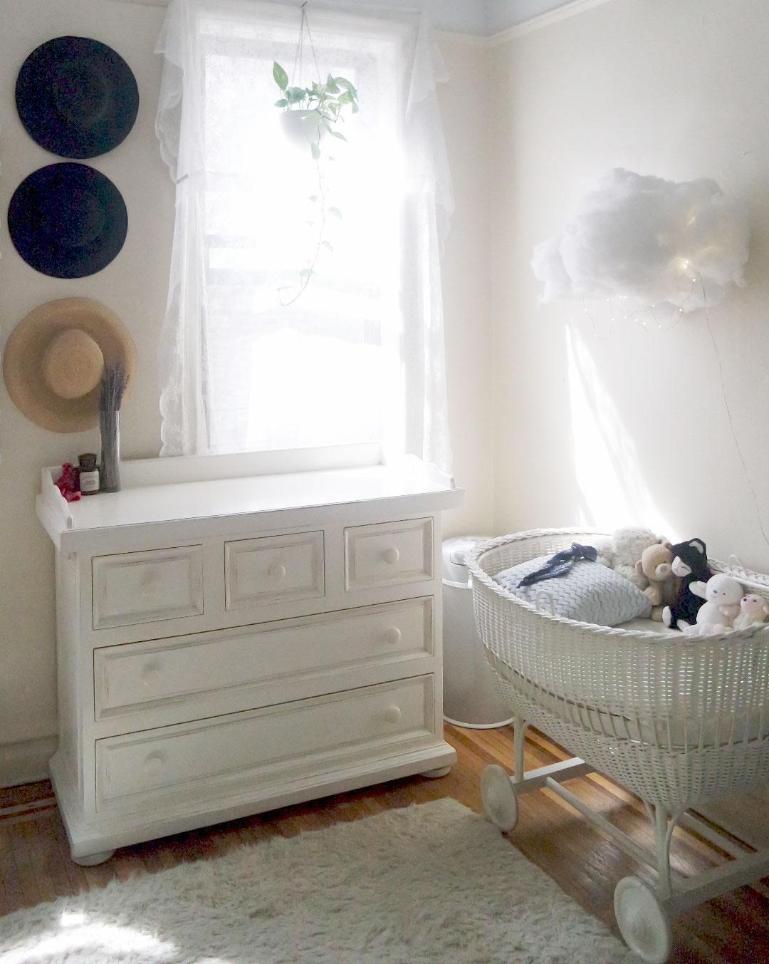 creative white baby nursery area