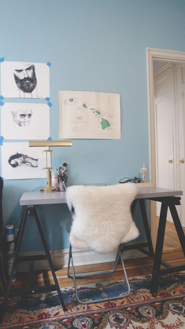 creative work space with human paintings