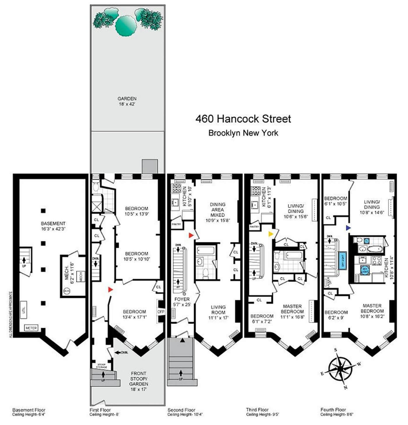 floor-through apartment floor plan