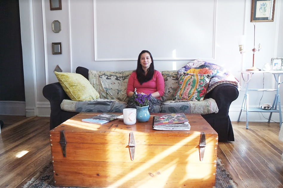 victoria in her eclectic and colorful living room
