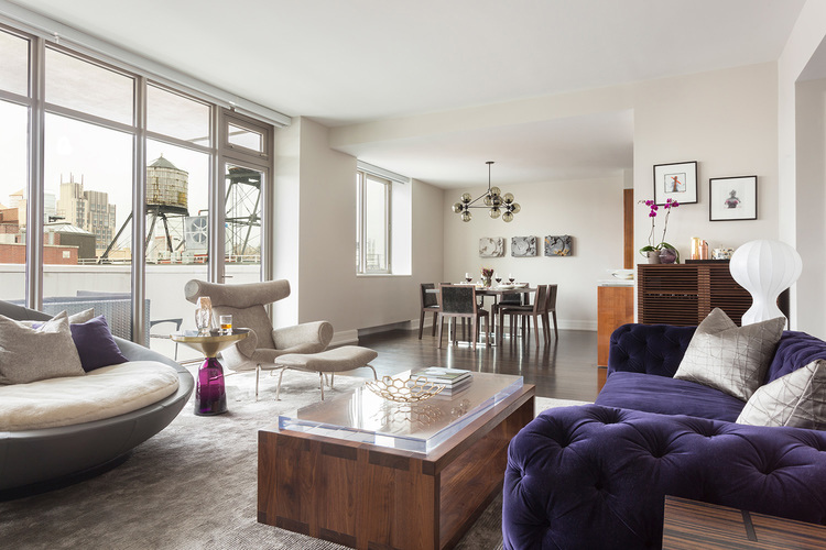 chelsea ny - contemporary apartment - living room